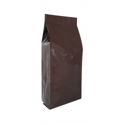 1 lb Gusseted Bag- Glossy Brown with Valve(FQ-10614D)