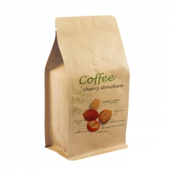 1/2lb Box Pouch-Coffee Cherry Pattern with Valve-Kraft